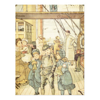 Victorian Children Storybook Vintage Ship Collage Postcard