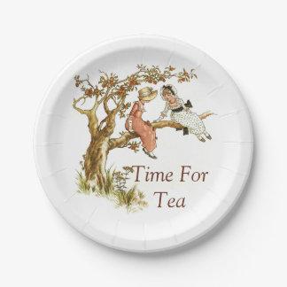 Victorian Children Tea Time 7 Inch Paper Plate
