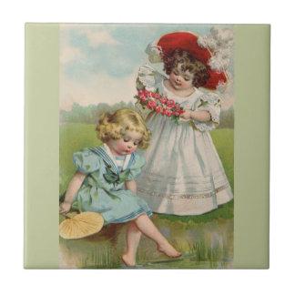 Victorian Children Small Square Tile