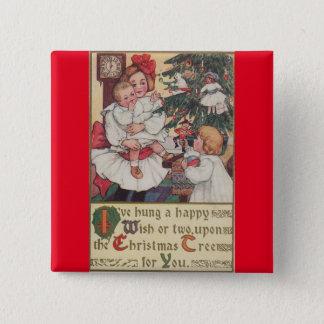 Victorian Children Vintage Christmas Button