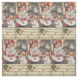 victorian children vintage christmas fabric