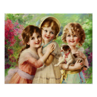 Victorian Children with Puppy, Emile Vernon Poster