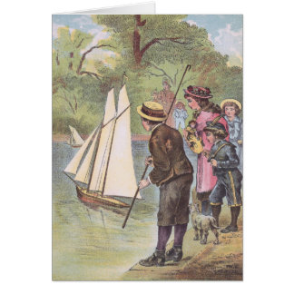 Victorian Children with Toy Sailboats on Pond Card