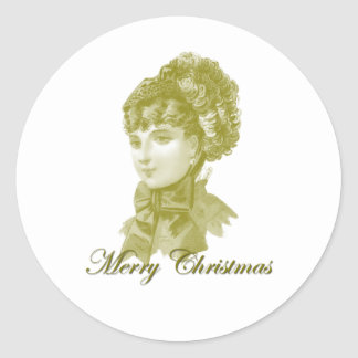 Victorian Christmas 7 Classic Round Sticker