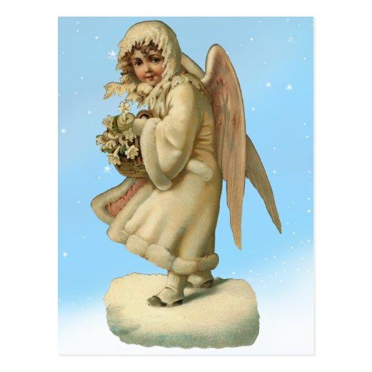 Victorian Christmas Angel Girl Postcard
