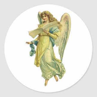 Victorian Christmas Angel, Gloria in Excelsis Deo Classic Round Sticker