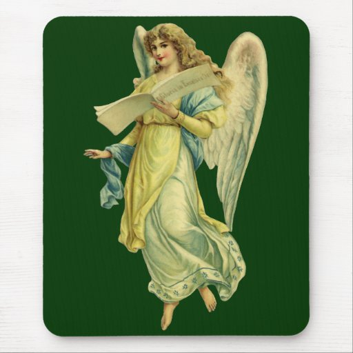 Victorian Christmas Angel; Gloria in Excelsis Deo Mouse Pads