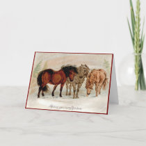 Victorian Christmas Card Country Horses in Snow