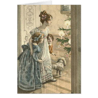 Victorian Christmas Card - Family