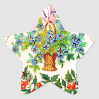 Victorian Christmas Card Star Sticker