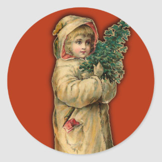 Victorian Christmas Cards Child with Tree Round Sticker