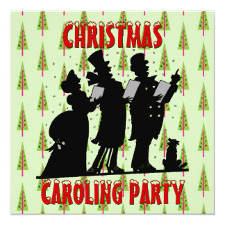 Victorian Christmas Carolers Caroling Party Card