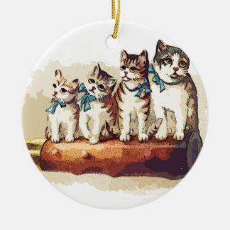 Victorian Christmas Cats Ceramic Ornament
