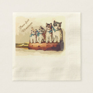 Victorian Christmas Cats Disposable Napkins