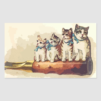 Victorian Christmas Cats Rectangle Sticker
