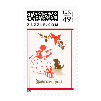 Victorian Christmas Child Dog Red Black White Postage Stamp