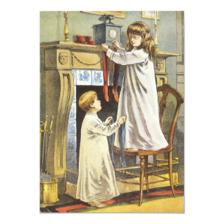 Victorian Christmas, Children Christmas Stockings Card