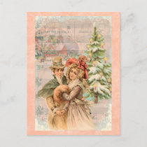 Victorian Christmas Couple gifts Holiday Postcard