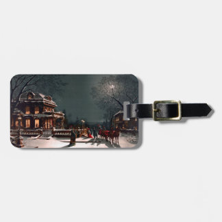 Victorian Christmas Eve Party Mansion Sleigh Snow Bag Tag