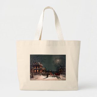 Victorian Christmas Eve Party Mansion Sleigh Snow Jumbo Tote Bag