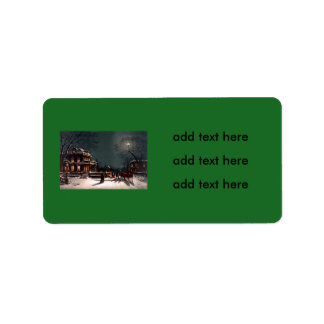 Victorian Christmas Eve Party Mansion Sleigh Snow Label