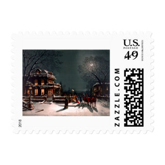 Victorian Christmas Eve Party Mansion Sleigh Snow Postage