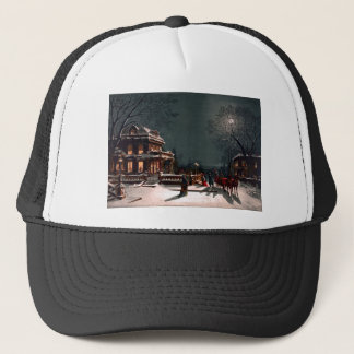 Victorian Christmas Eve Party Mansion Sleigh Snow Trucker Hat