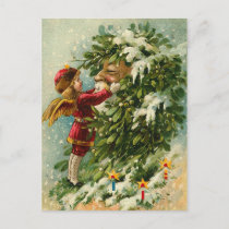 Victorian Christmas Faerie and Santa Holiday Postcard