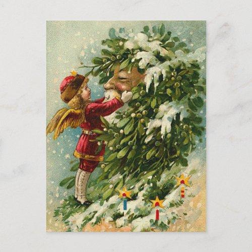 Victorian Christmas Faerie and Santa Holiday Postcard