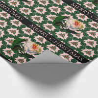 Victorian Christmas Flower on Pink Wrapping Paper