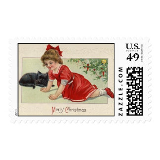 Victorian Christmas Girl & Black Cat, Med Postage Stamp
