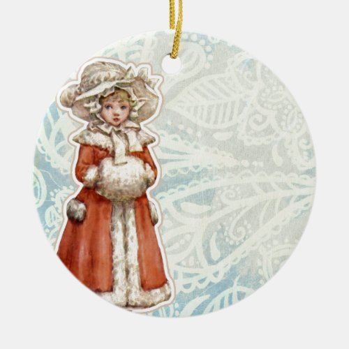 Victorian Christmas Girl in Fur Red Coat Ceramic Ornament
