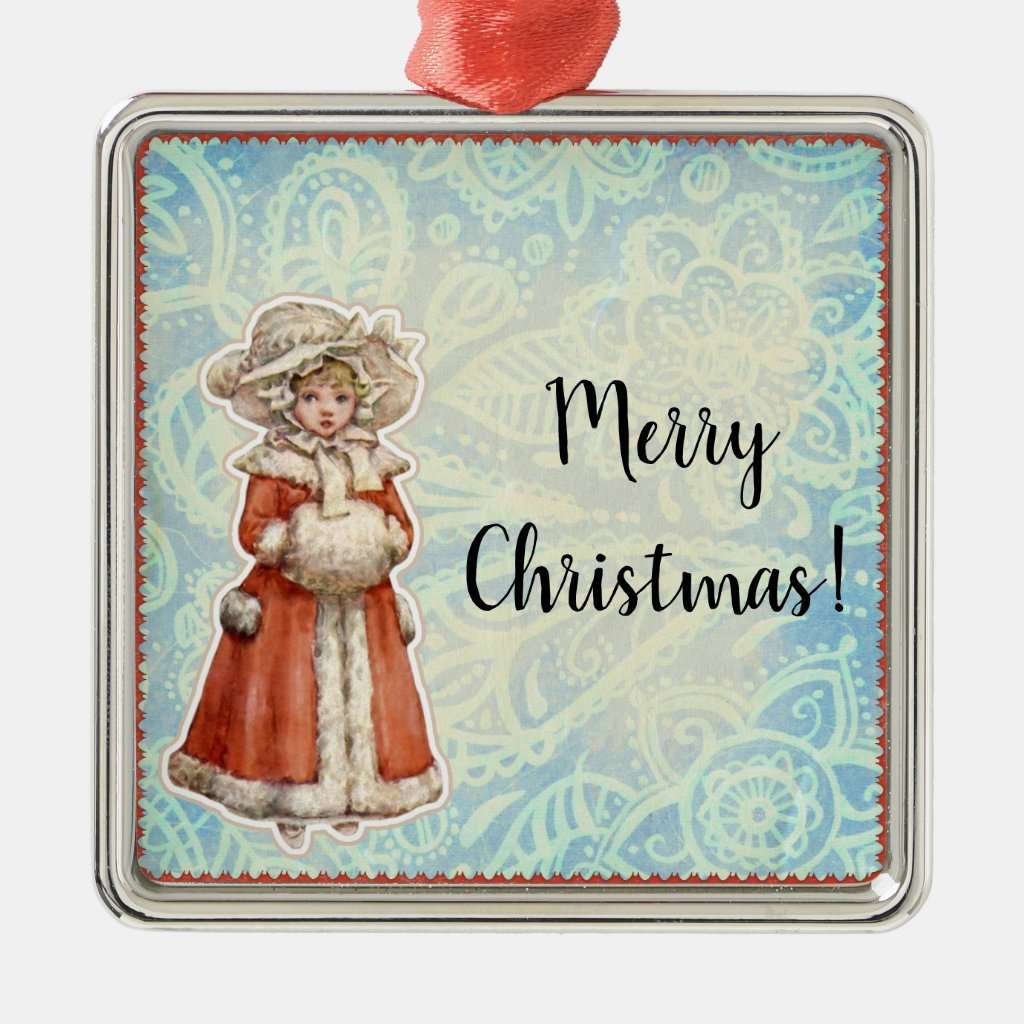Victorian Christmas Girl in Fur Red Coat Metal Ornament
