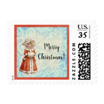 Victorian Christmas Girl in Fur Red Coat Postage