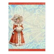 Victorian Christmas Girl in Fur Red Coat Postcard