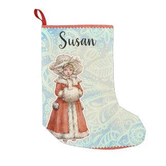 Victorian Christmas Girl in Fur Red Coat Small Christmas Stocking