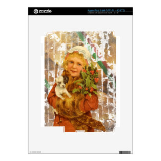 Victorian Christmas Girl With Puppy Dog iPad 3 Decal