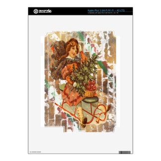 Victorian Christmas Girl With Vintage Sled Decal For iPad 3