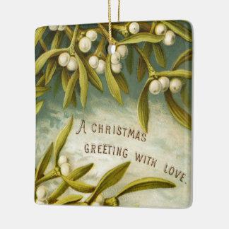 "Victorian ""Christmas Greeting"" & Mistletoe Square Ornament"