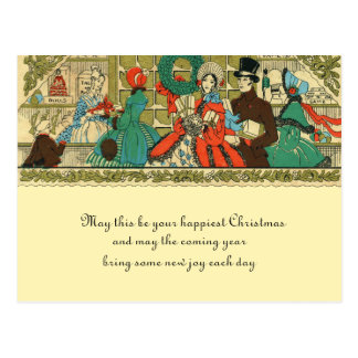 Victorian Christmas Holiday Window Shopping Postcard