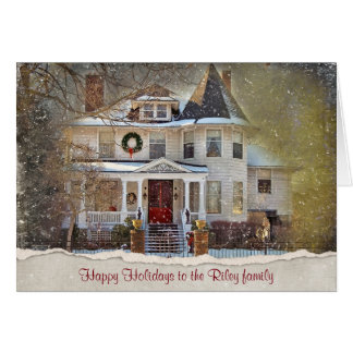 Victorian Christmas House with torn edge Card