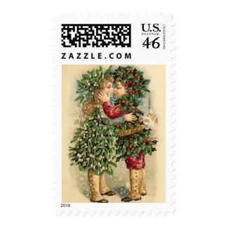 Victorian Christmas Kiss Postage stamp