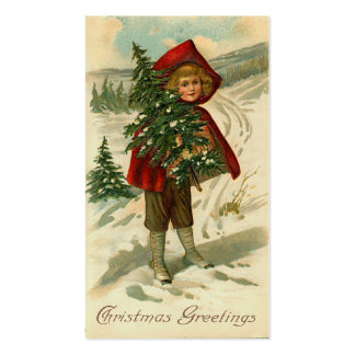 Victorian Christmas Mini Greetings or Gift Tags Business Card Template