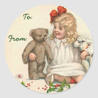 Victorian Christmas Name Tags Round Stickers