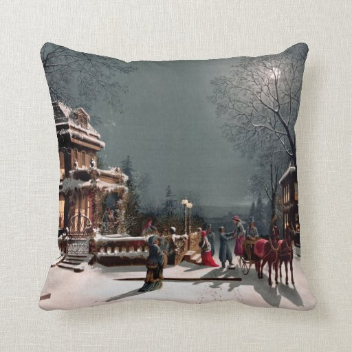 Victorian Christmas Party Pillow Zazzle