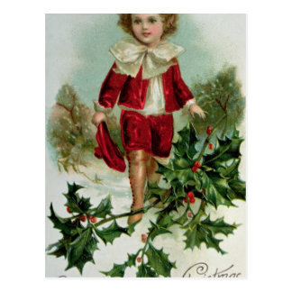 Victorian Christmas postcard depicting a boy