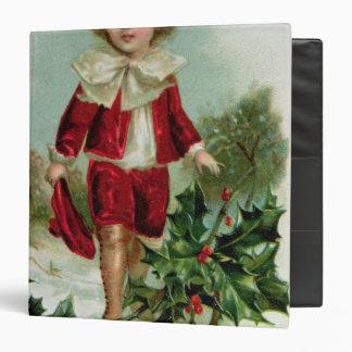 Victorian Christmas postcard depicting a boy Binder