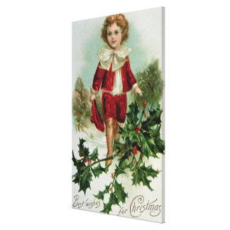 Victorian Christmas postcard depicting a boy Canvas Print