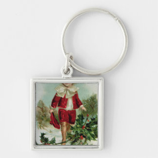 Victorian Christmas postcard depicting a boy Keychain
