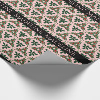 Victorian Christmas Pretty in Pink Monogram Wrapping Paper